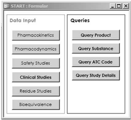 Top Menu to open forms for Data Input and Queries